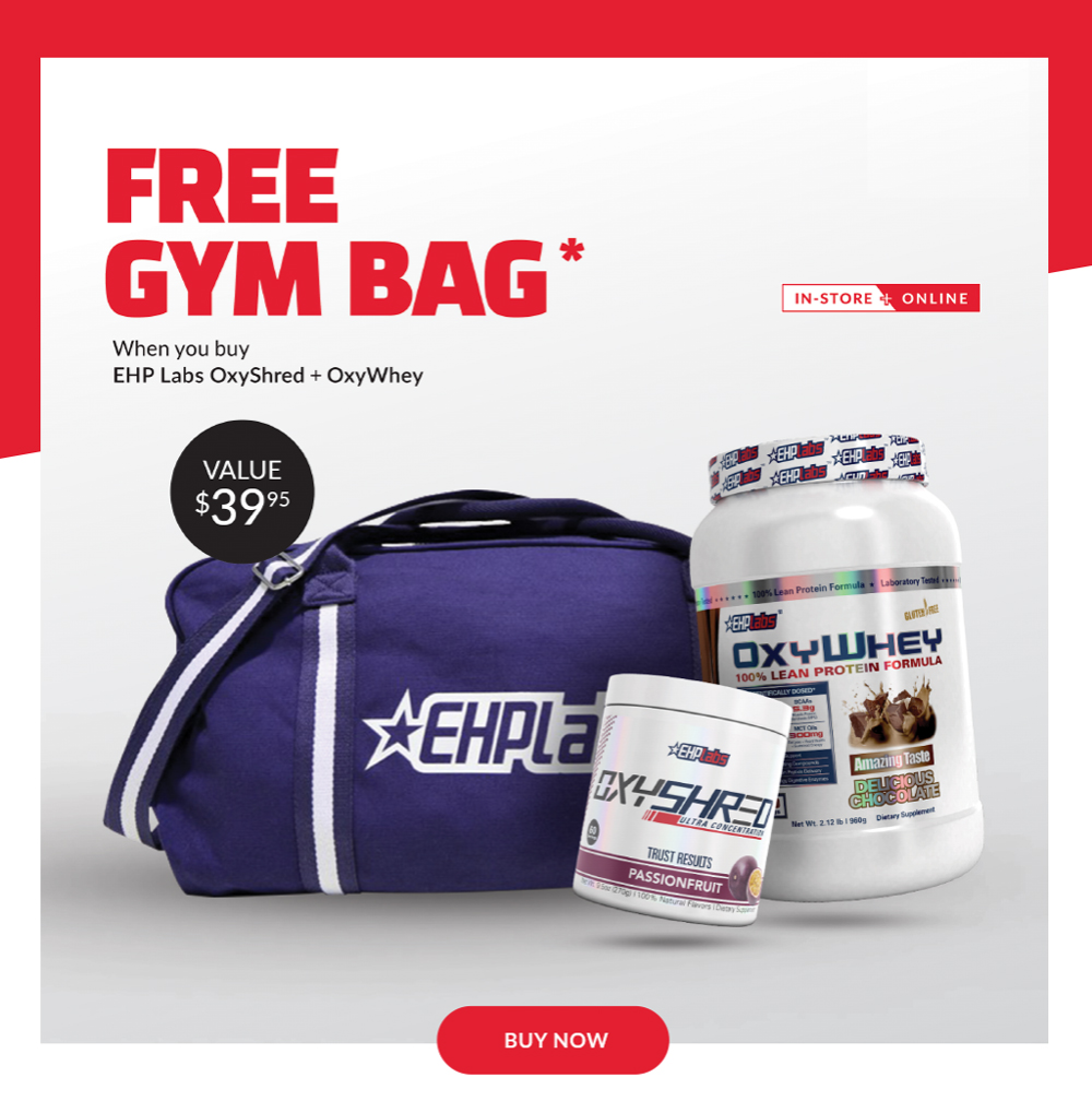 FREE EHP Labs Gym Bag With OxyShred + OxyWhey Pack